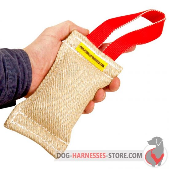 Jute Dog Bite Tug with Handle for Puppies and Small Breeds