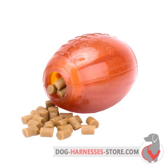 Chewing Rubber Dog Toy / Treat Dispensing Rugby Ball Medium