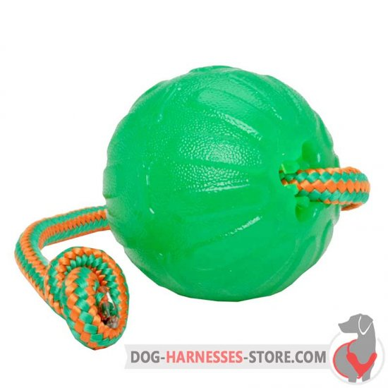 Rubber Chewing Dog Ball with String / Interactive Treat Dispensing Toy for Dog Feeding