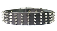 2 inch wide Leather Spiked Dog Collar for every day walking