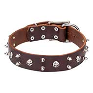 Rock Style Leather Dog Collar 40 mm Wide with Nickel Plated Spikes and Skulls