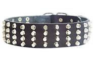 Wide Studded Leather Dog Collar-2'' wide for every day walking