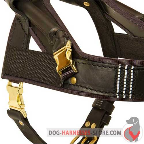 Assistance Leather Dog Harness with Easy Quick Release Buckle