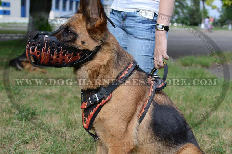 Dog Car Harness >> Deluxe Hand Painted German Shepherd Harness [H1FL#1092 ...