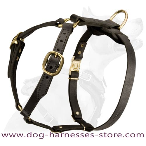 Comfortable Strap-Like Design Leather Dog Harness