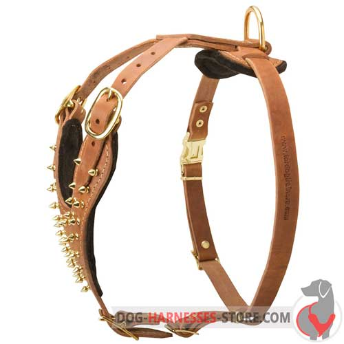 Fashion leather dog harness crafted with spikes