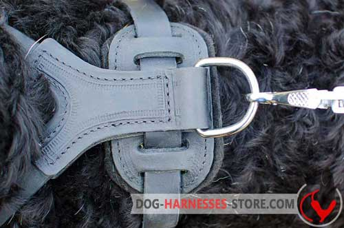 Leather dog harness with durable hardware