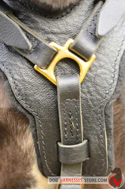 Leather dog harness with wide padded chest plate