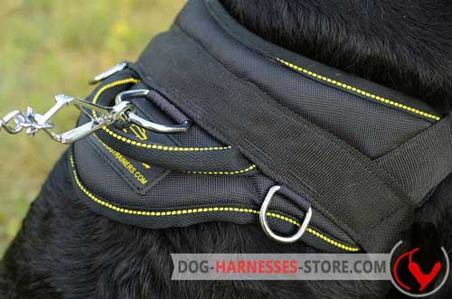Nylon Dog Harness Back Plate Wide with 3 Rings