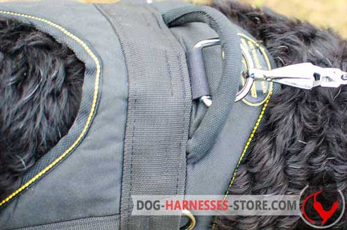 Nylon dog harness with non-rusting hardware