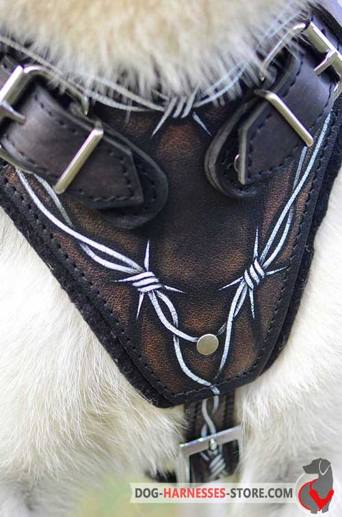 Padded Dog Harness Chest Plate Painted with Barbed Wire