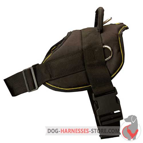 Nylon dog harness with quick release buckle and side D-rings