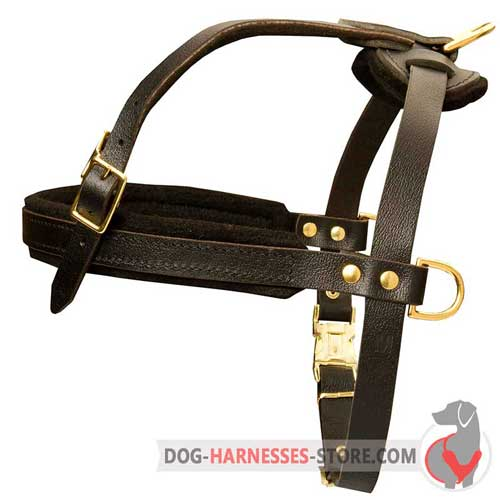Pulling  and tracking leather dog harness for working canines