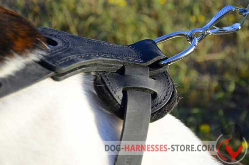 Durable leather dog harness with sturdy D-ring for leash