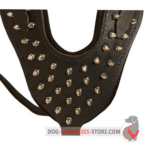 Leather dog harness with Y-shaped spiked plate