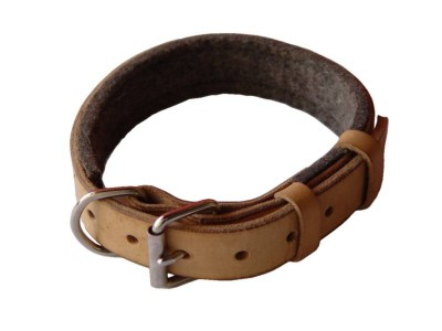 Padded Leather dog collar with thick felt