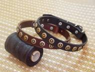 Gorgeous Wide Leather Dog Collar with Dotted Circles