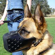 "Leather dog muzzle ""Dondi"" style- agitation dog muzzle m55"