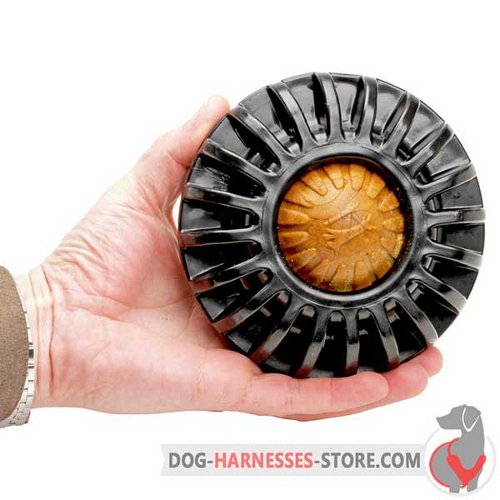 Black Rubber Dog Toy Big with Tasty Treat in