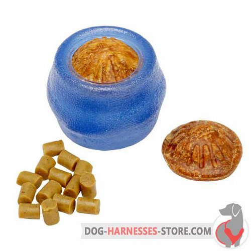 Blue Chewing Dog Ball Small with Small and Big Treats