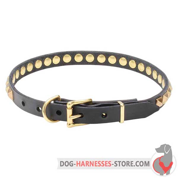 Buckle Leather Dog Collar Decorated with Brass Hardware