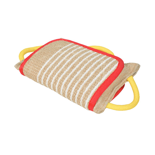 Wide Jute Dog Pillow Bite Pad with 3 Handles