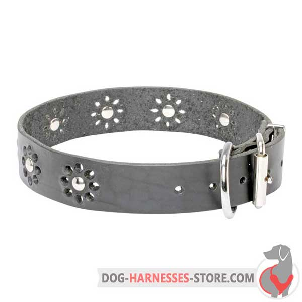 Leather Dog Collar Decorated with Printed Flowers and Nickel Plated Studs