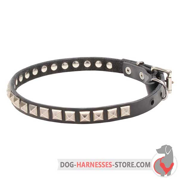 Slim Leather Dog Collar with Riveted Chrome Plated Square Studs