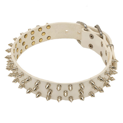 3 Rows Spiked Dog Collar of White Leather