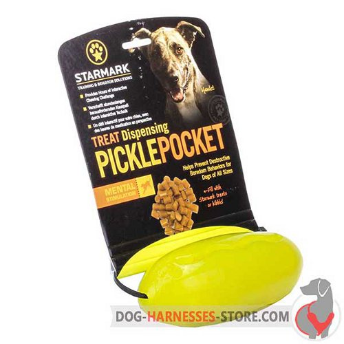 Packed Chewing Dog Toy Yellow Oval Treat Holder