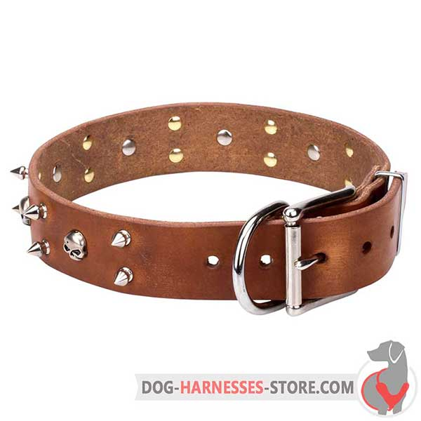 Tan Leather Dog Collar Decorated with Nickel Plated Spikes and Skulls