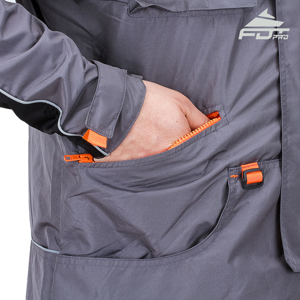 Professional Dog Trainer Jacket with Back Pockets for Any Weather Use