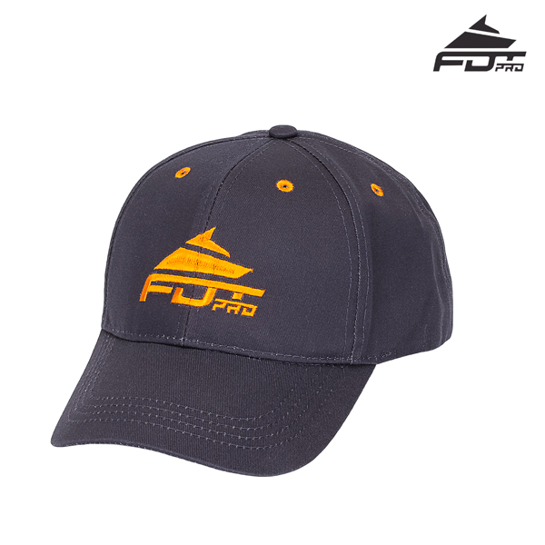 Unisex Dark Grey Color Cap with Orange Logo for Dog Walking