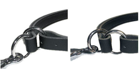 Adjustable Leather Slip Collar with solid NICKEL hardware  for all dogs